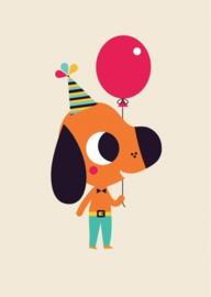 Ansichtkaart Hond met ballon