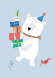Ansichtkaart IJsbeer met cadeautjes
