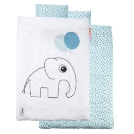 Dekbedovertrek olifant Done by Deer 100x135 cm - blauw