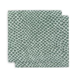 Hydrofieldoeken 115x115cm Snake ash green (2-pak) - Jollein