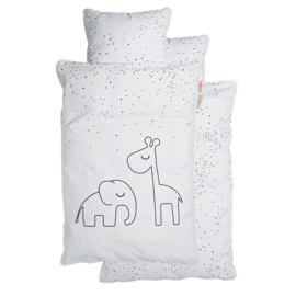 Dekbedovertrek Dreamy Dots Elphee en Raffie Done by Deer 70x100 cm - wit/grijs