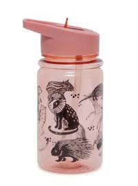 Drinkfles wilde dieren roze - Petit Monkey