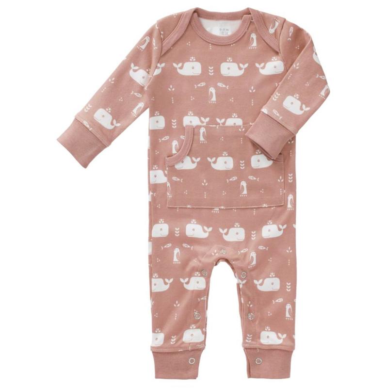 Fresk kruippakje / pyjama Whale Mellow Rose