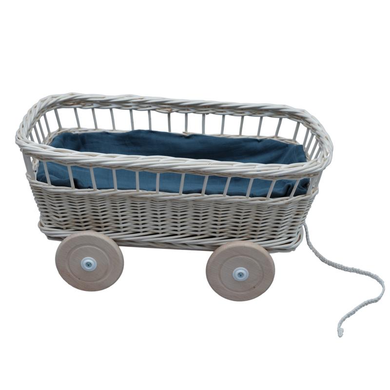 Trekwagen / Pull wagon van wilgenhout - Fabelab