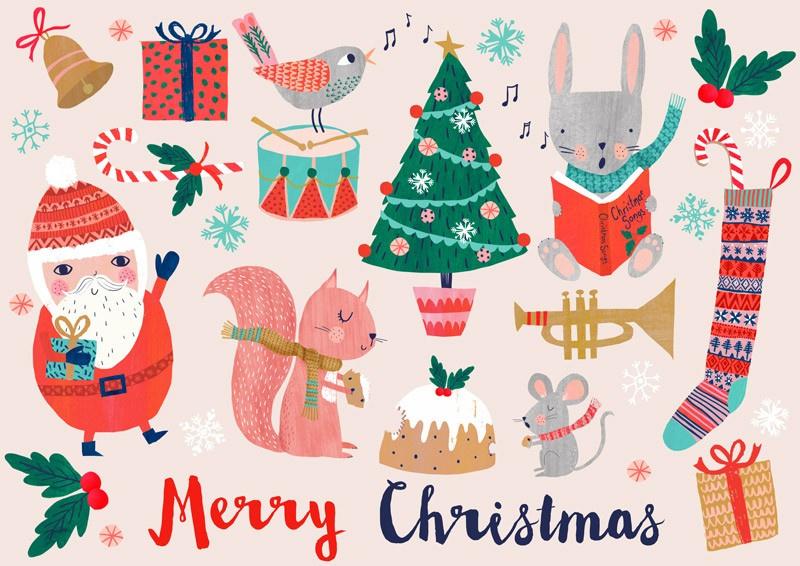 Kerstkaart Merry Christmas Santa