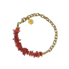 Armband Koraal rood schakel goud