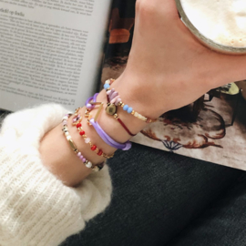 Armband cartierknoop Lila hart goud