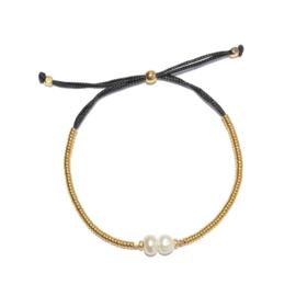 Armband koord zwart Parel wit