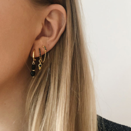Oorbellen chain Maan zirconia zwart goud