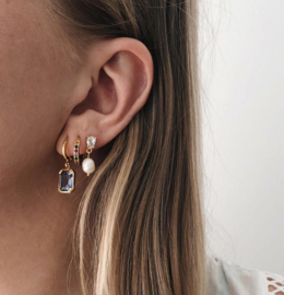 Earparty oorsteker zoetwaterparel goud kristal