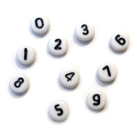 Cijfer kralen wit zwart