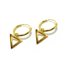 Oorringetjes Triangle Open Goud 12mm