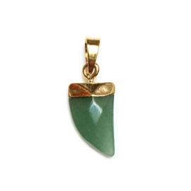 Tand hanger half edelsteen Jade groen