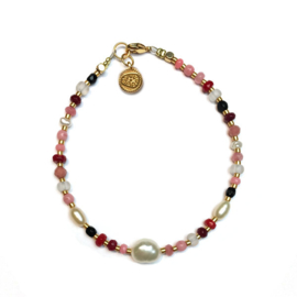 Armband Parel half edelsteen Roze rood jade