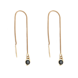 Pull through oorbellen Evil eye black
