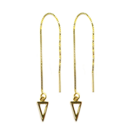 Pull through triangle oorbellen goud
