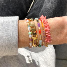 Armband Koraal roze schakel goud