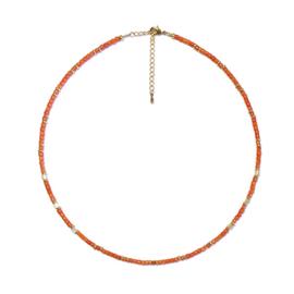 Ketting Bamboe koraal Oranje schelp