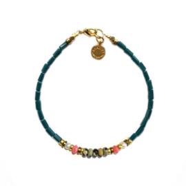 Armband blauw Jasper pink opal