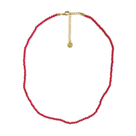 Kort geregen ketting bamboe koraal rood