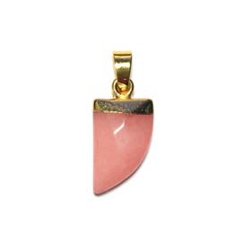 Tand hanger half edelsteen Roze Jade