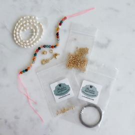 DIY Pakket Parelketting & armband maken Half edelsteen