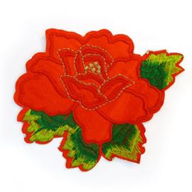Patch - Strijkplaatje Roos Rood