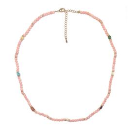 Ketting Zalm roze kralen half edelsteen