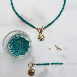 DIY Kralen pakketje Ketting turkoois Zon goud