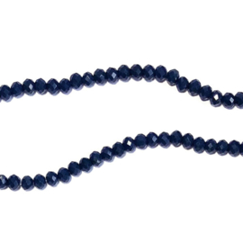 Streng glaskralen facet Donkerblauw navy