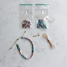 DIY Miyuki Tila armbandje maken Lila turkoois goud