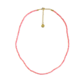 Kort geregen ketting Roze bamboe koraal