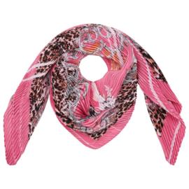 Sjaal Roze luipaard print geplooid