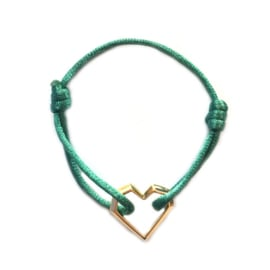 Armband cartierknoop Groen hart goud