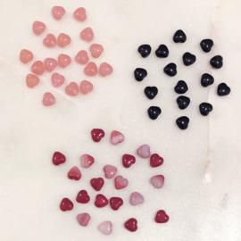 Glaskraal hartje Rood gemêleerd 6mm