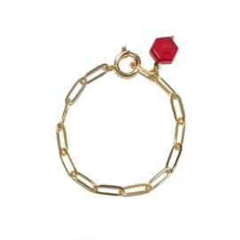 Armband schakel goud Bamboe koraal Rood