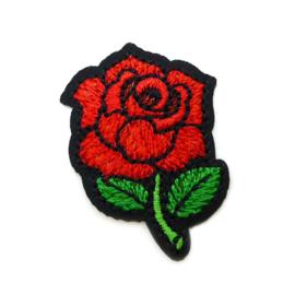 Patch - Strijkplaatje Roos zwart rood