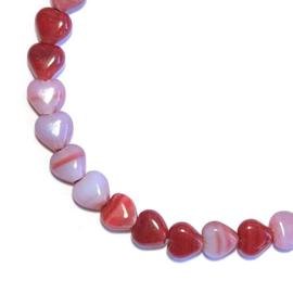 Glaskraal hartje Rood gemelleerd 6mm