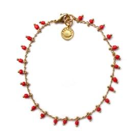Bracelet red beads Vintage Look