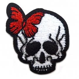 Patch - Strijkplaatje Skull Butterfly