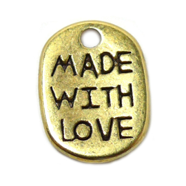 bedel labeltje made with love mat goud