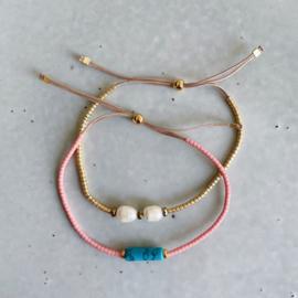 DIY Miyuki delica armbandjes maken Roze turkoois Goud