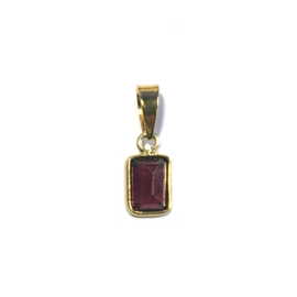 Bedeltje Facet steen Bordeaux Garnet Verguld