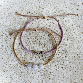 DIY Miyuki delica armbandjes maken Lila Goud