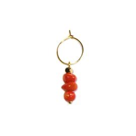 Oorbel Bamboe koraal oranje rood goud