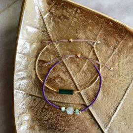 DIY Miyuki delica armbandjes maken Paars groen Goud