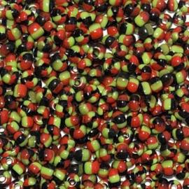 Rocailles gestreept kleurenmix zwart rood groen