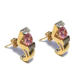 Vintage Oorstekers kristal roze