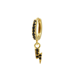 Single oorring Bliksem goud zwart zirconia