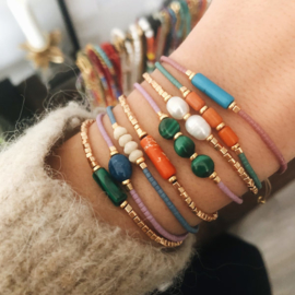 Armband Miyuki Goud Malachiet